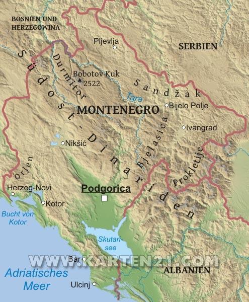Physische karte von montenegro